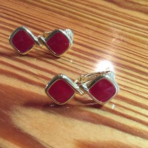 Vintage Gold Tone with Red Clip-on Earrings